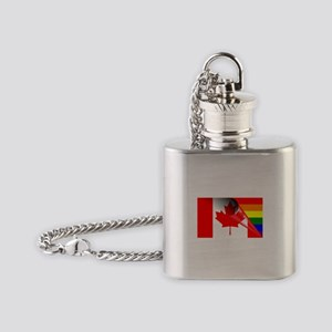 Canadian Flag Gay Pride Rainbow Flask Necklace