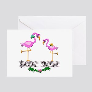 Dancing Pink Flamingos - Greeting Card