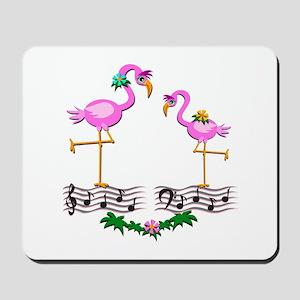 Dancing Pink Flamingos - Mousepad