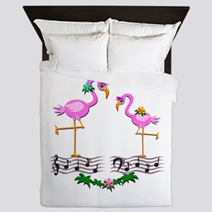 Dancing Pink Flamingos - Queen Duvet
