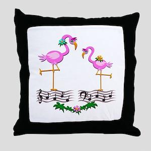 Dancing Pink Flamingos - Throw Pillow