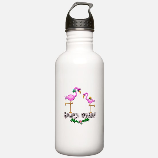 Dancing Pink Flamingos Water Bottle