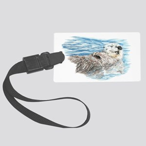 Cute Watercolor Otter Relaxing o Large Luggage Tag