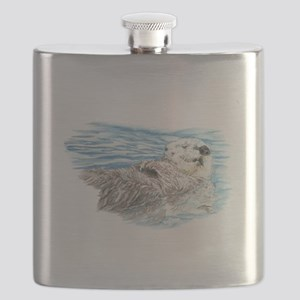 Cute Watercolor Otter Relaxing or Chilling Flask