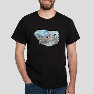 Cute Watercolor Otter Relaxing or Chi Dark T-Shirt