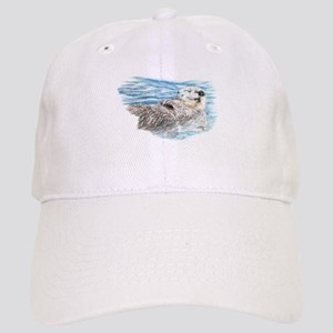 Cute Watercolor Otter Relaxing or Chilling Cap