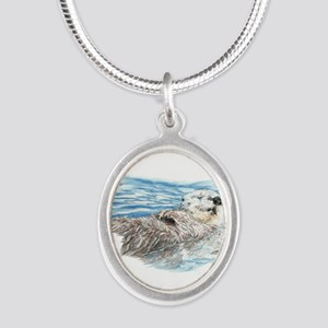 Cute Watercolor Otter Relaxin Silver Oval Necklace