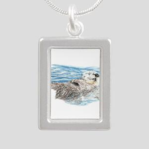 Cute Watercolor Otter Re Silver Portrait Necklace