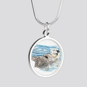 Cute Watercolor Otter Relaxi Silver Round Necklace