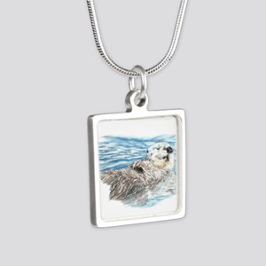 Cute Watercolor Otter Rela Silver Square Necklace