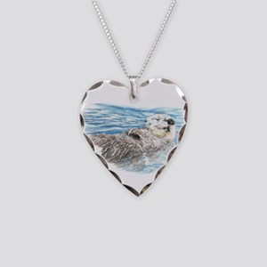 Cute Watercolor Otter Relaxin Necklace Heart Charm