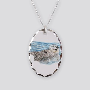 Cute Watercolor Otter Relaxing Necklace Oval Charm
