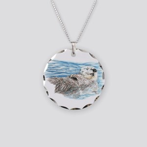 Cute Watercolor Otter Relaxi Necklace Circle Charm