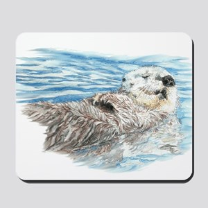 Cute Watercolor Otter Relaxing or Chilli Mousepad
