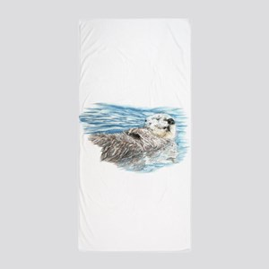 Cute Watercolor Otter Relaxing or Chil Beach Towel