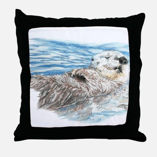Cute Watercolor Otter Relaxing or Chi Throw Pillow