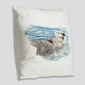 Cute Watercolor Otter Relaxing Burlap Throw Pillow