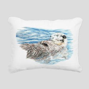 Cute Watercolor Otter Re Rectangular Canvas Pillow