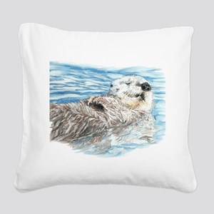 Cute Watercolor Otter Relaxin Square Canvas Pillow