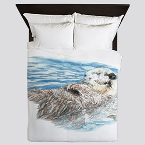 Cute Watercolor Otter Relaxing or Chil Queen Duvet