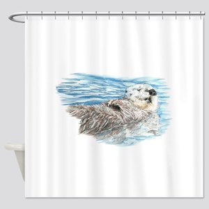 Cute Watercolor Otter Relaxing Or C Shower Curtain