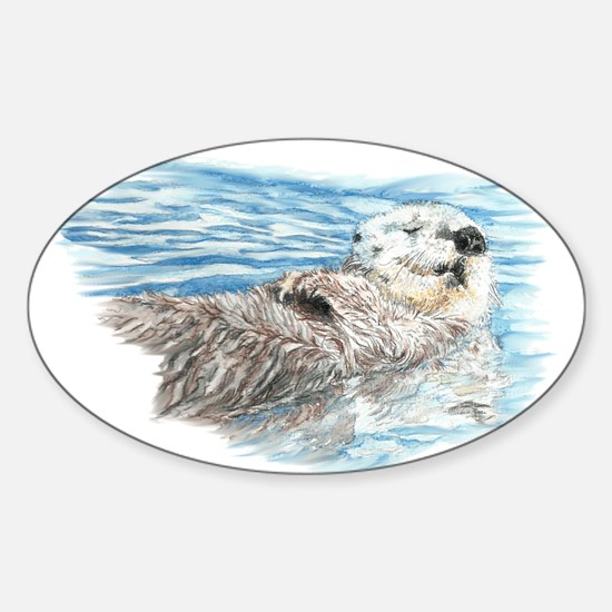 Cute Watercolor Otter Relaxing or C Sticker (Oval)