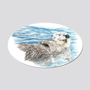 Cute Watercolor Otter Relaxi 20x12 Oval Wall Decal