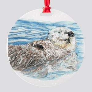 Cute Watercolor Otter Relaxing or C Round Ornament