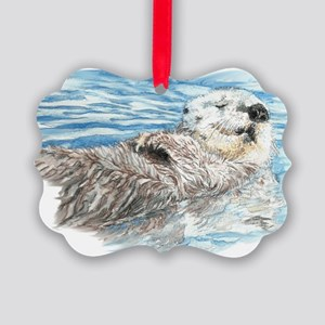 Cute Watercolor Otter Relaxing or Picture Ornament