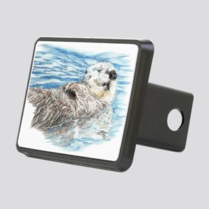 Cute Watercolor Otter Rela Rectangular Hitch Cover