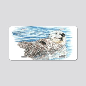 Cute Watercolor Otter Relax Aluminum License Plate