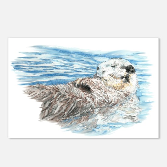 Cute Watercolor Otter Rel Postcards (Package of 8)