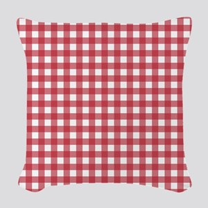 Gingham Checked Red Woven Throw Pillow