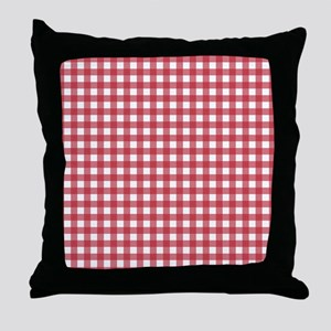 Gingham Checked Red Throw Pillow
