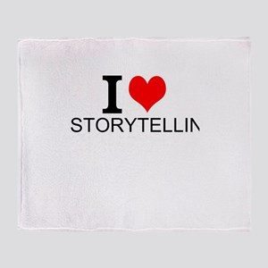 I Love Storytelling Throw Blanket