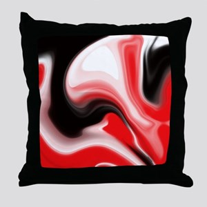 Red and Black Marble Design Throw Pillow