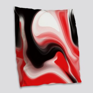 Red and Black Marble Design Burlap Throw Pillow