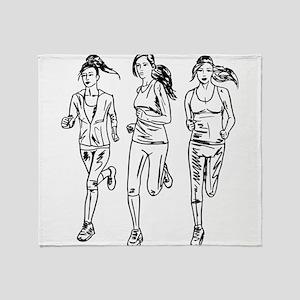 Three female runners Throw Blanket
