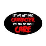 Like I Care Red-White Oval Car Magnet