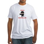 Ninja Bookseller with Book Fitted T-Shirt