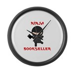 Ninja Bookseller with Book Large Wall Clock