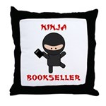Ninja Bookseller with Book Throw Pillow