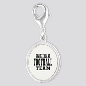 Switzerland Football Team Silver Oval Charm