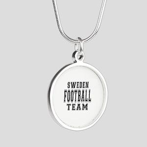 Sweden Football Team Silver Round Necklace