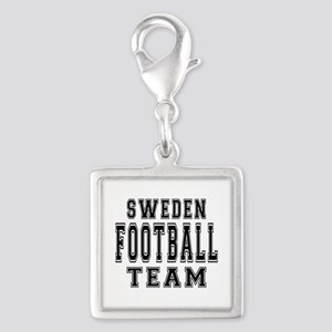 Sweden Football Team Silver Square Charm