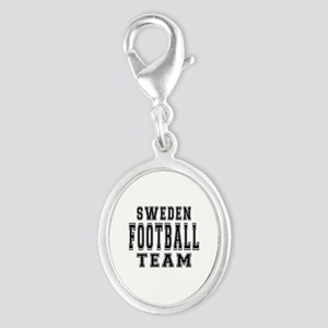 Sweden Football Team Silver Oval Charm