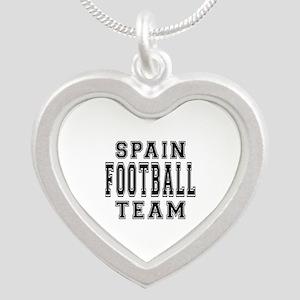 Spain Football Team Silver Heart Necklace