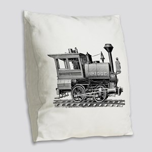Vintage Steam Locomotive Burlap Throw Pillow