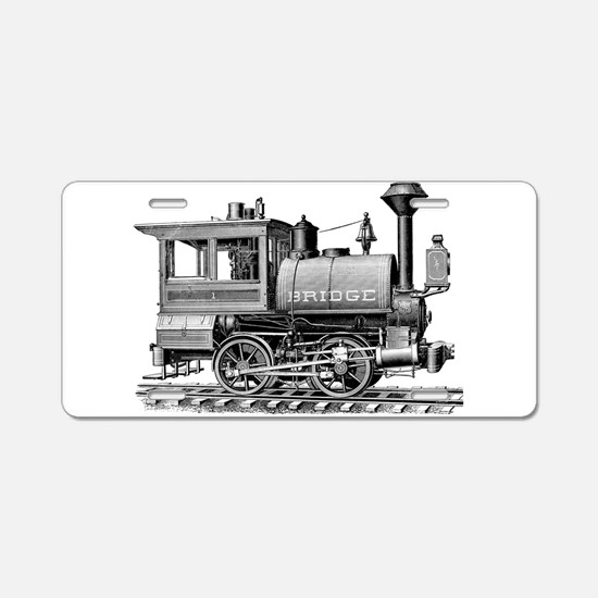 Vintage Steam Locomotive Aluminum License Plate