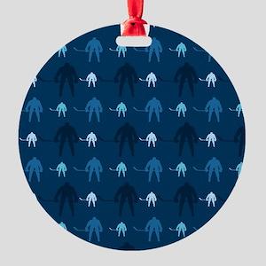 Dark and Light Blue Ice Hockey Ornament